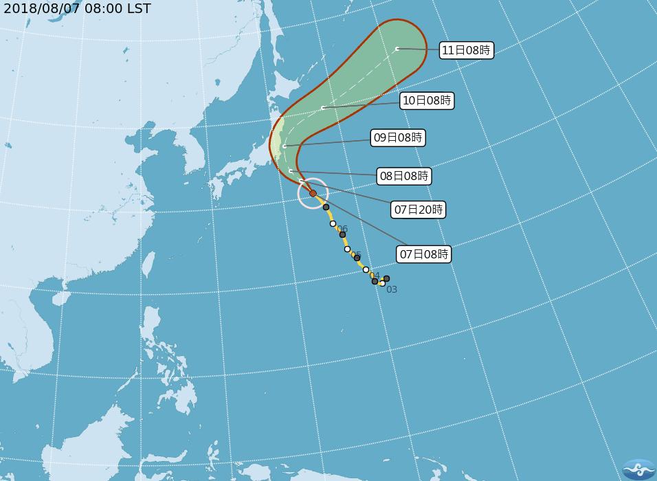 第13號中度颱風珊珊目前以西北方向朝日本東南方海面移動。圖/擷取自中央氣象局網站