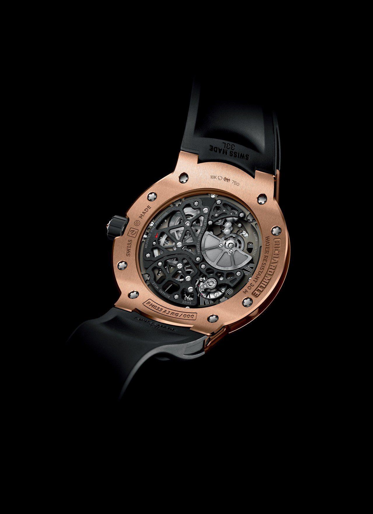 RICHARD MILLE RM033超薄腕表,从蓝宝石水晶玻璃底盖即可见到,以...