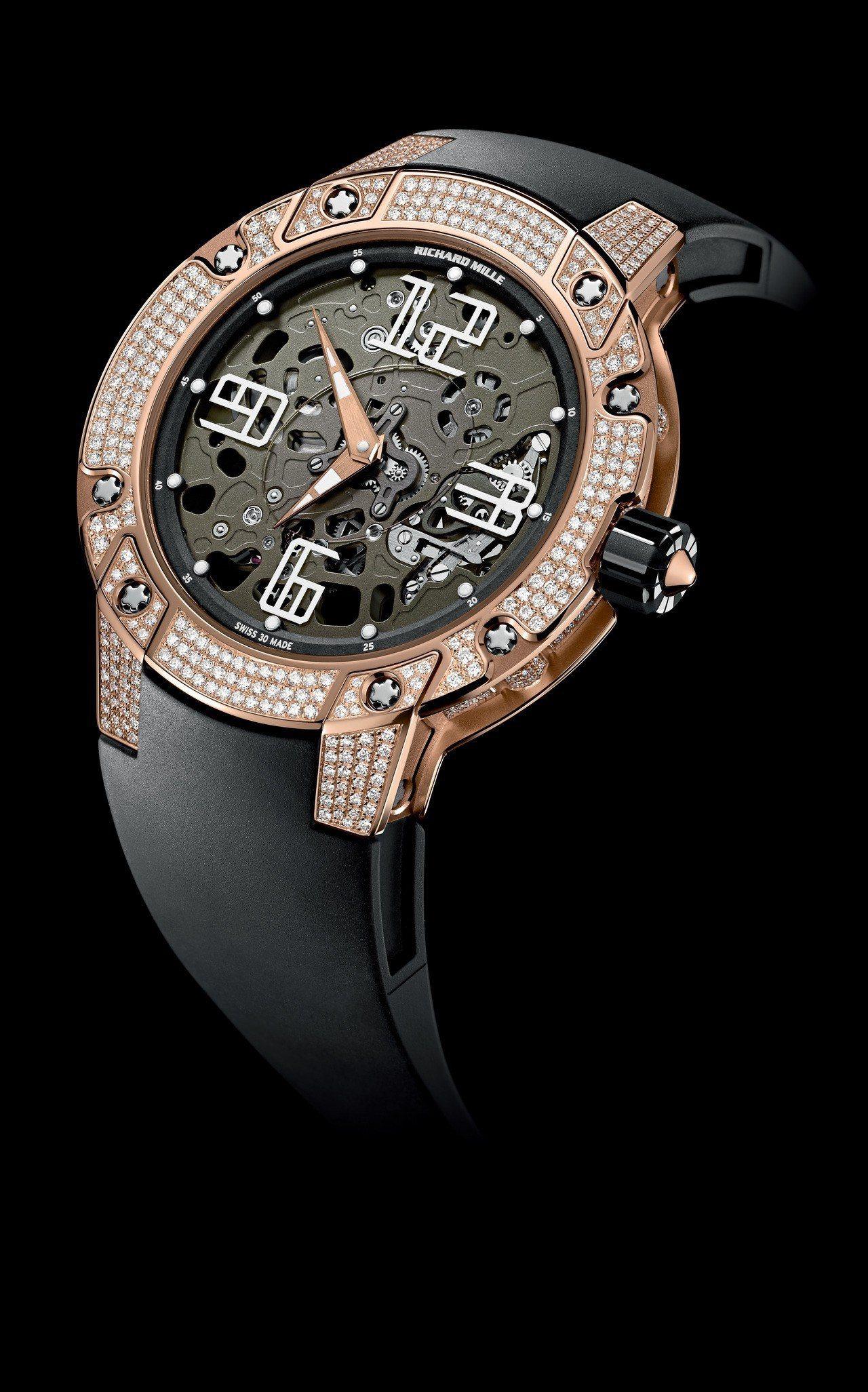 RICHARD MILLE RM033超薄镶钻腕表,18K玫瑰金表壳,搭载镂空R...