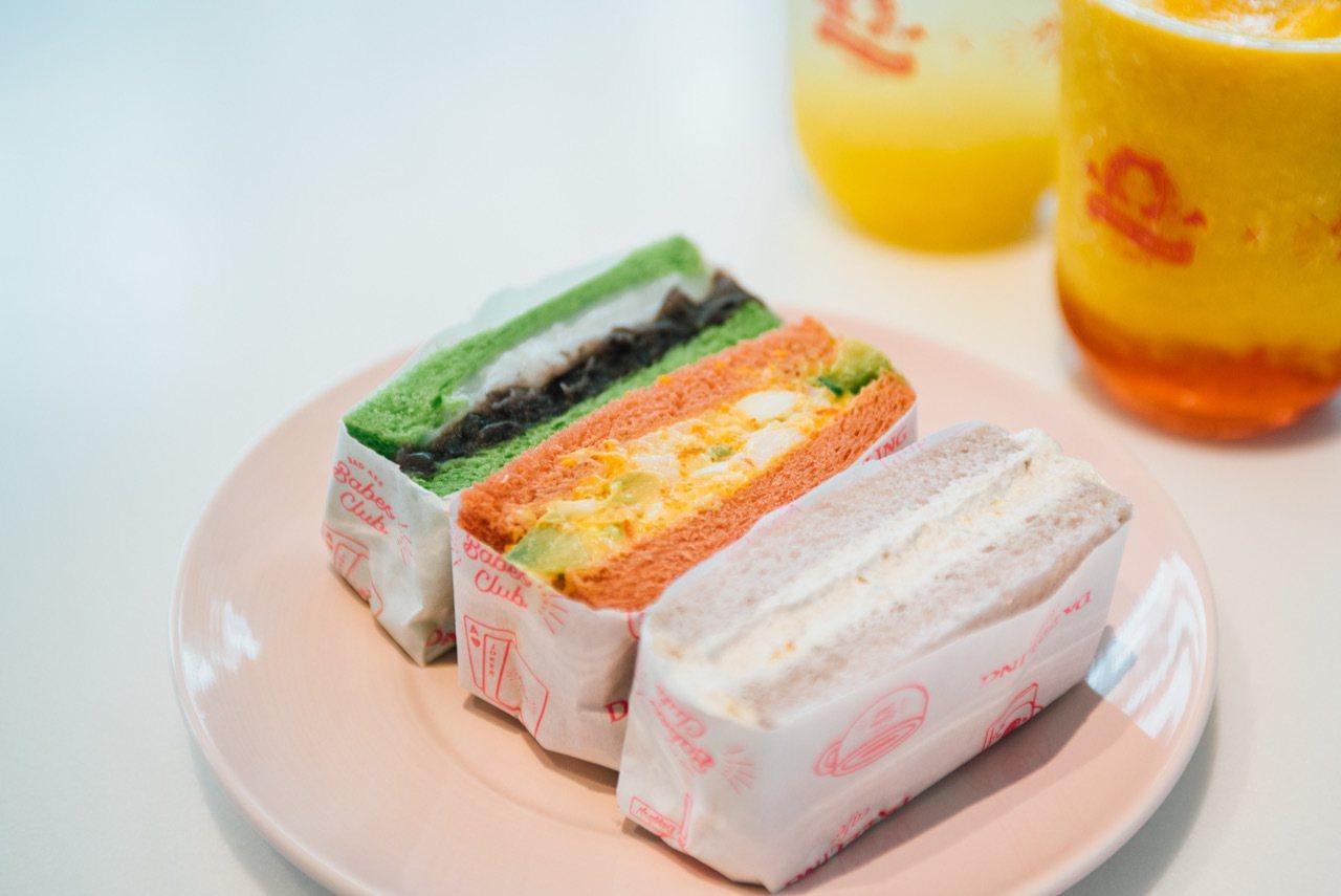 彩虹三明治分別代表海洋、大地及森林概念。圖/Dazzling Cafe提供