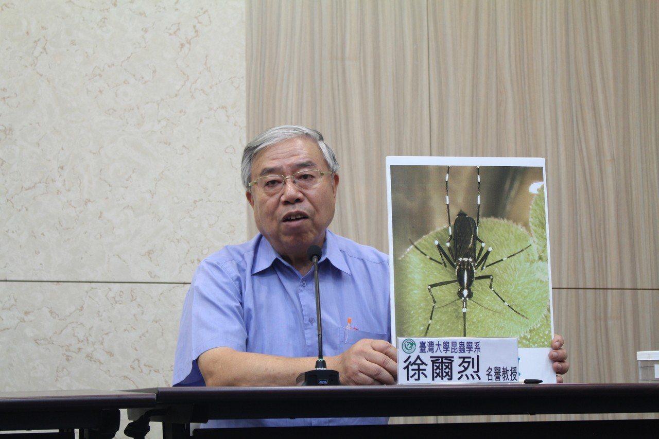 台灣大學昆蟲學系暨研究所名譽教授徐爾烈(圖)說,北部登革熱病媒蚊為白線斑蚊,蟲卵...