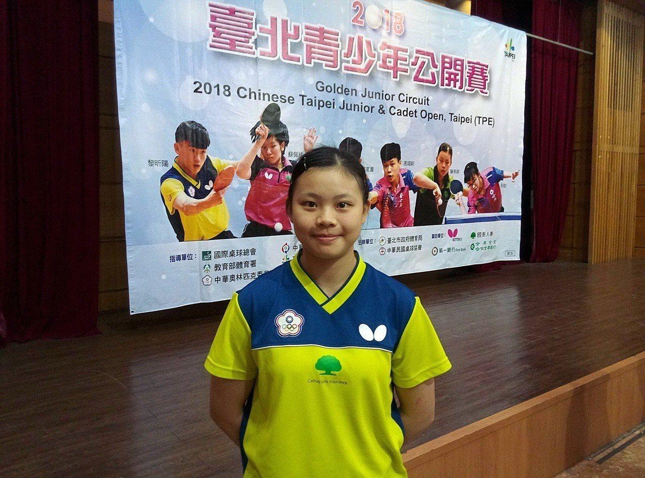 陳婷婷18歲女子世界排名第11,第7度參與台北青少年公開賽。記者林宋以情/攝影