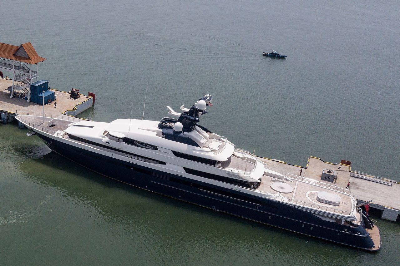 豪華遊艇「平靜號」7日返抵馬來西亞港口。法新社