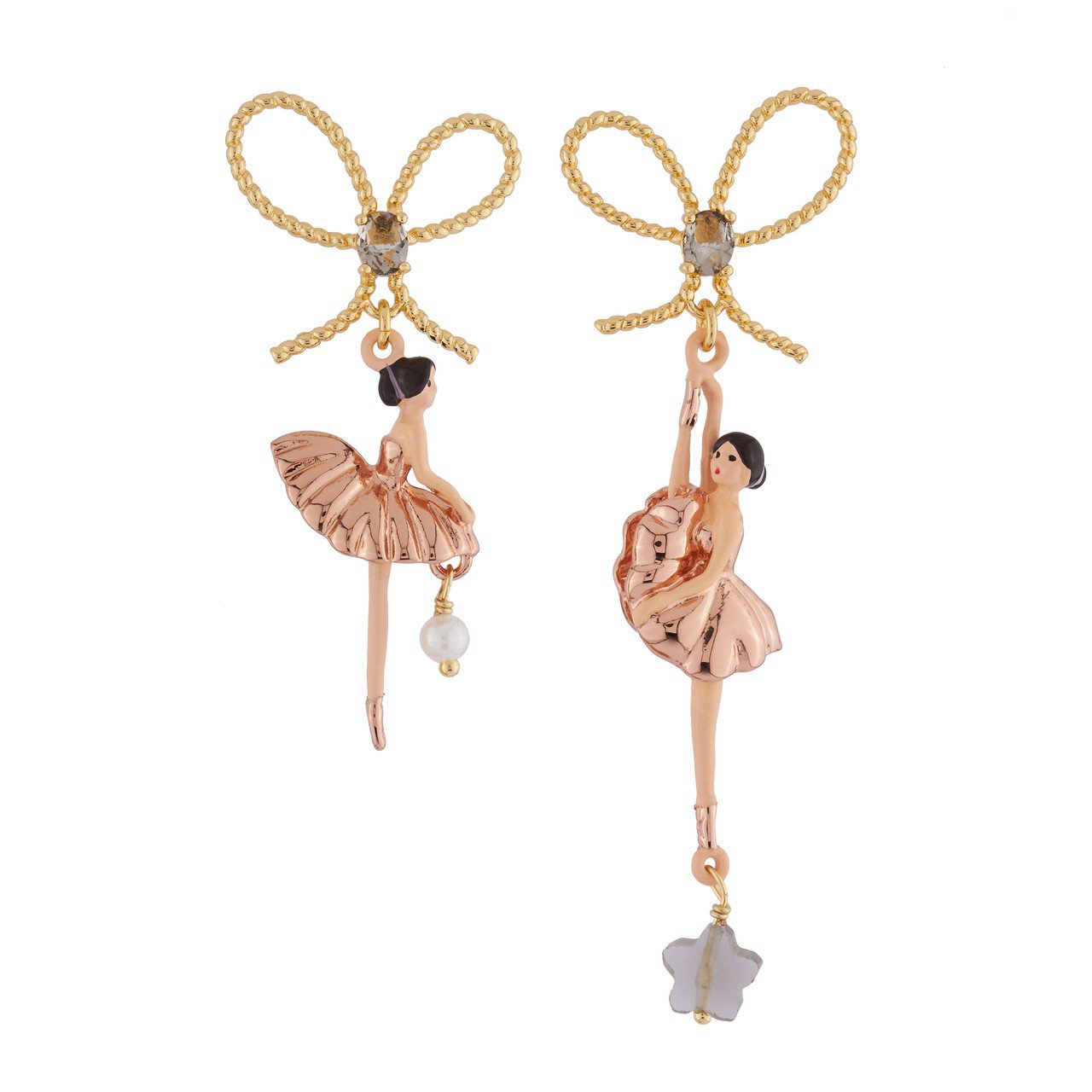 Les Néréides 芭蕾舞伶玫瑰金耳環,4,500元。圖/惇聚國際提供