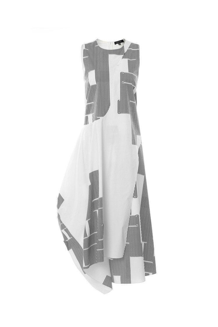MARYLING黑白幾何不對稱裙襬連衣裙,售價18,480元。圖/MARYLIN...