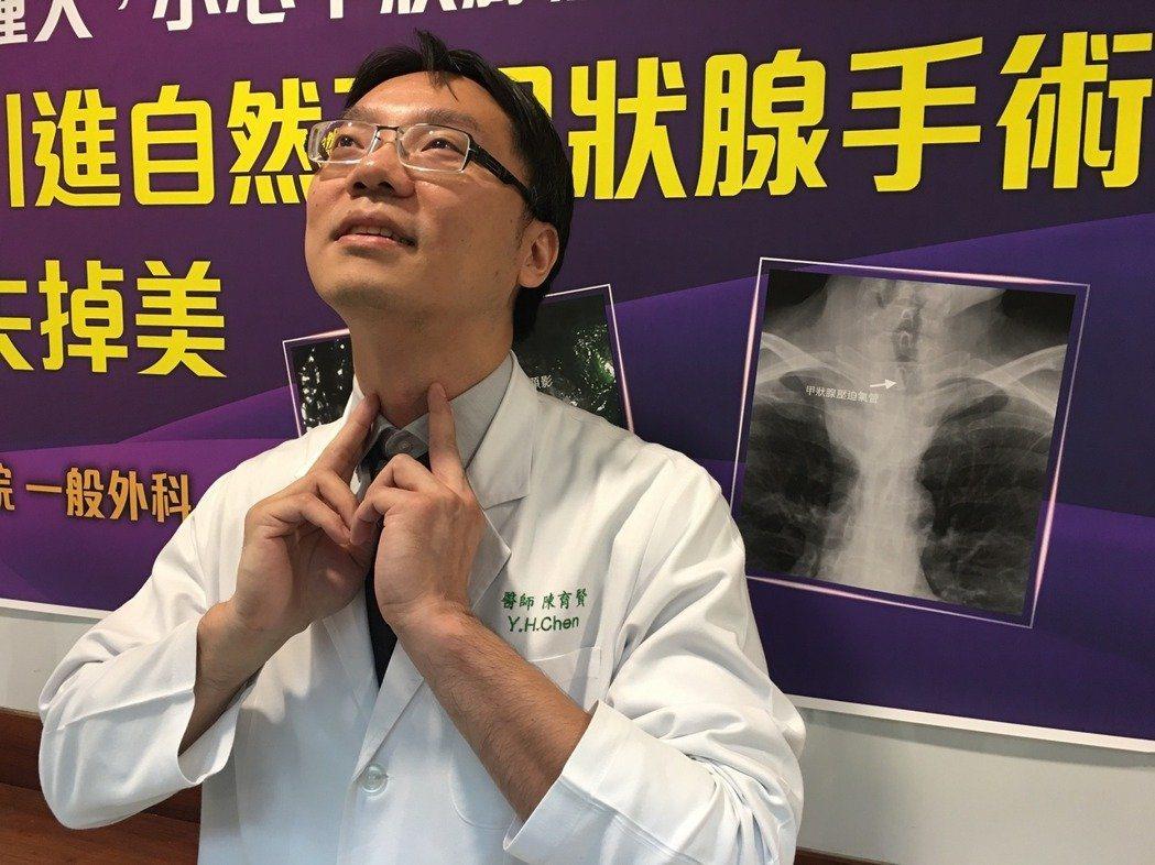 醫師陳育賢示範如何自我檢查甲狀腺健康。 圖/報系資料照