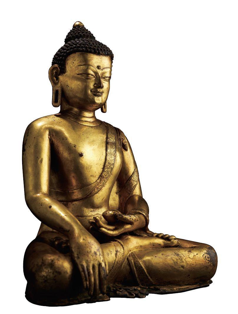 十五世紀 銅鎏金釋迦摩尼佛 H 26cm