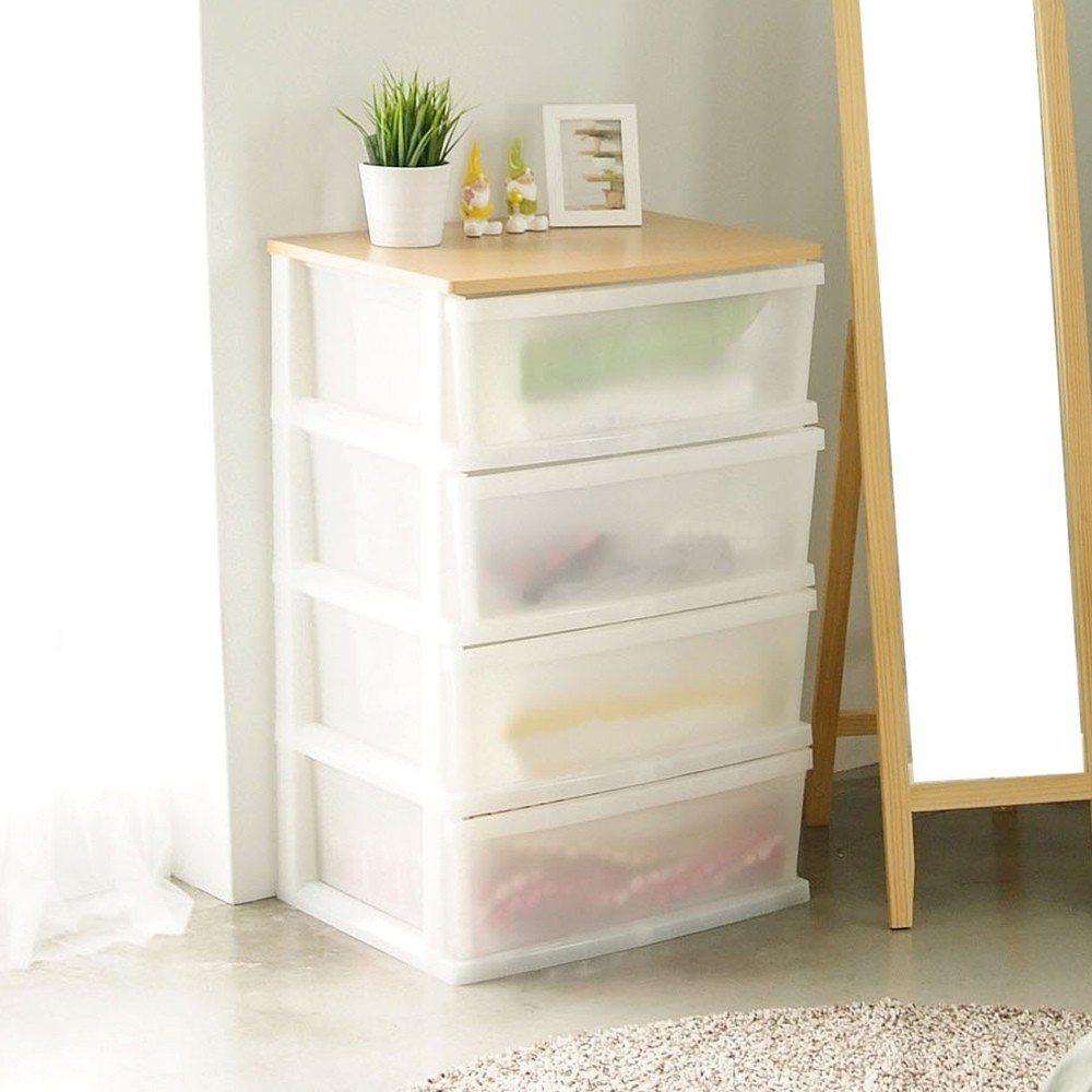 圖說:Peachy Life 日系木天板四層整理箱抽屜櫃/衣物收納櫃(加寬版)。...