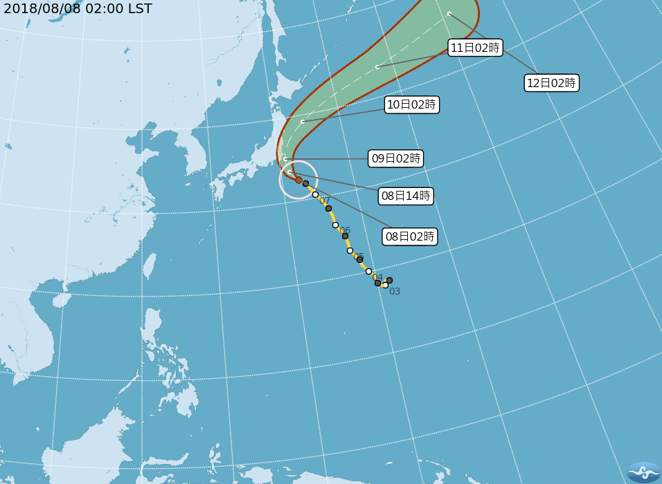 第13號中度颱風珊珊以西北方向,朝日本東南方海面移動。圖/擷取自中央氣象局網站
