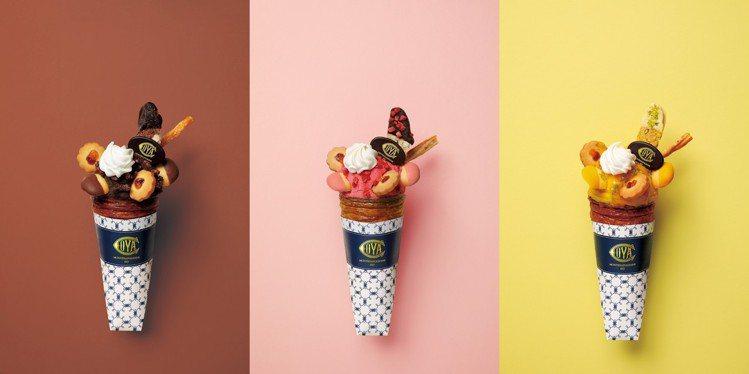 (左起)盛夏巧克力可頌冰淇淋、戀夏草莓可頌冰淇淋、豔夏芒果可頌冰淇淋,每支200...