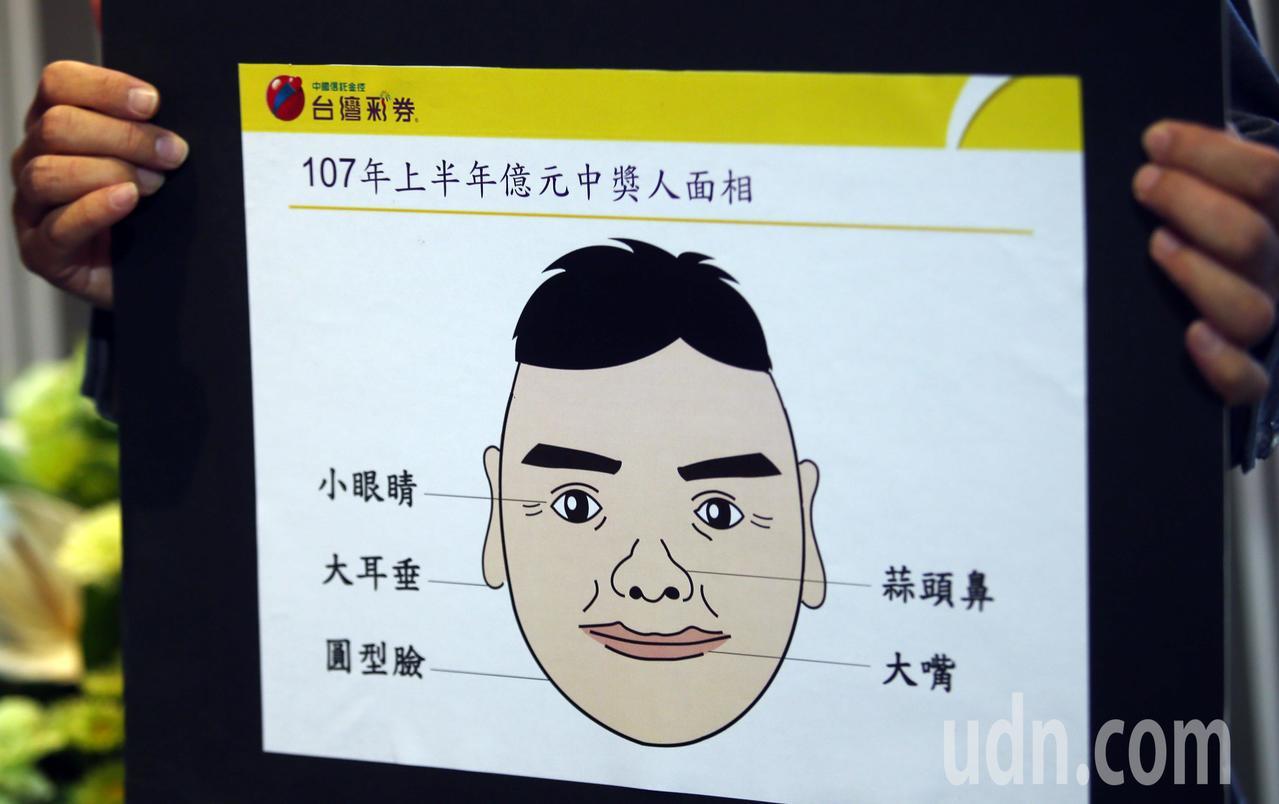 台灣彩券公司總經理蔡國基表示,有著圓型臉、小眼睛、蒜頭鼻、大耳垂以及大嘴特徵的人...