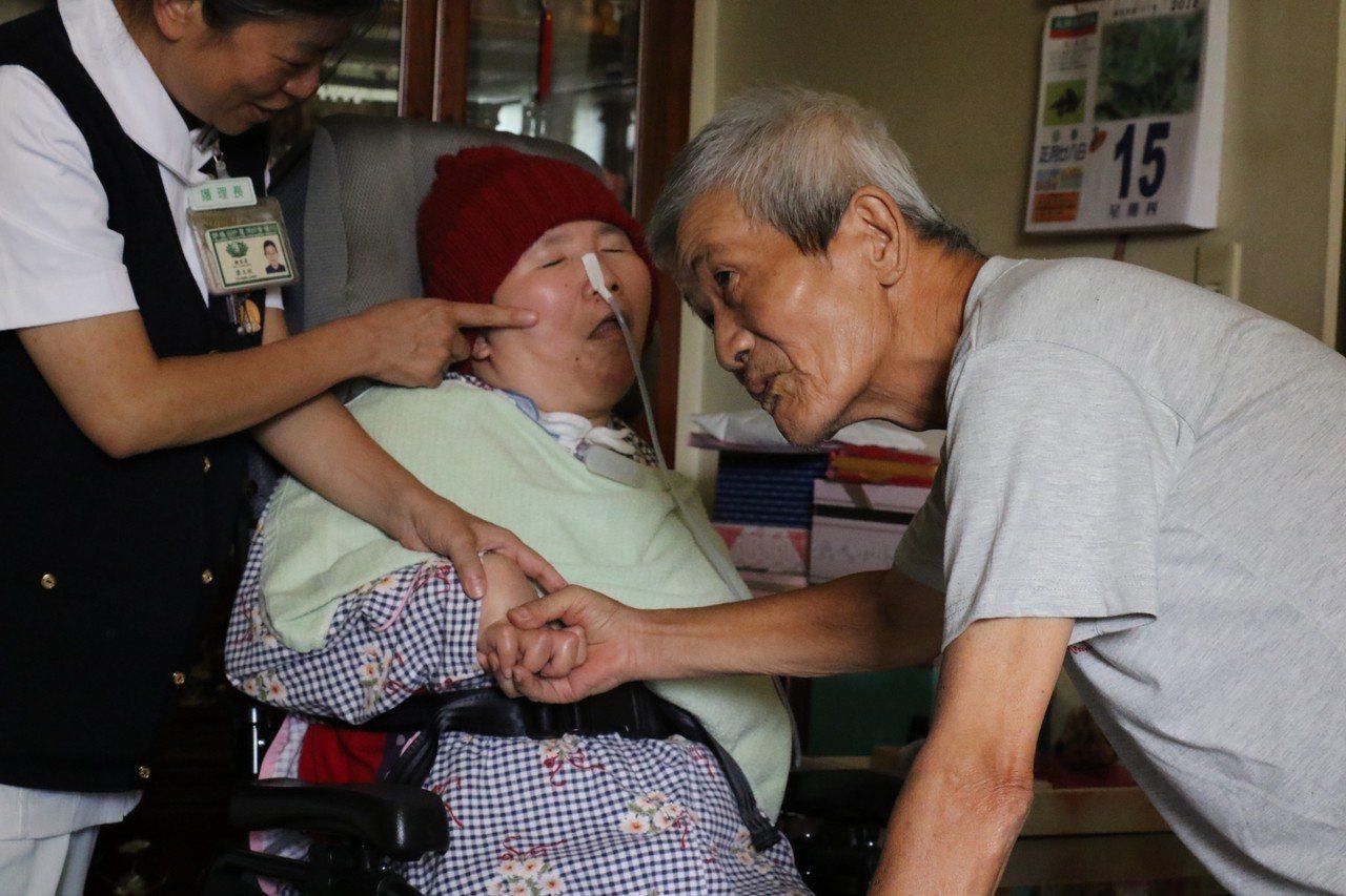 坐在輪椅上的莊嘉慧被推進家門,爸爸認真的看著她的臉,伸手摸摸她的手,淚水就要掉下...