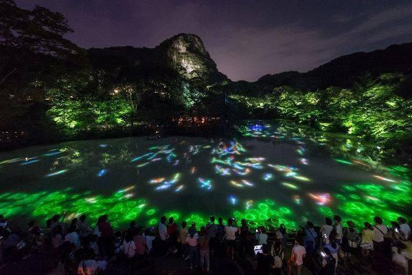 透過光影技術,將每個山景變成一個個美麗的故事。圖/取自teamLab官網