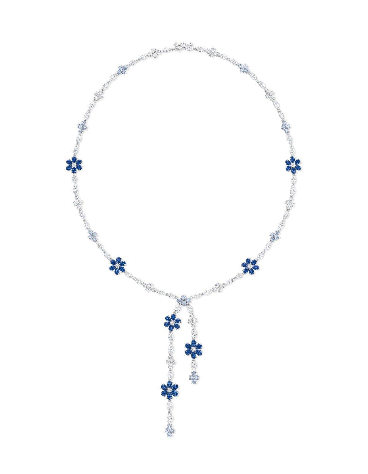 海瑞溫斯頓 勿忘我Forget-Me-Not Lariat藍寶石和鑽石項鍊。圖/...