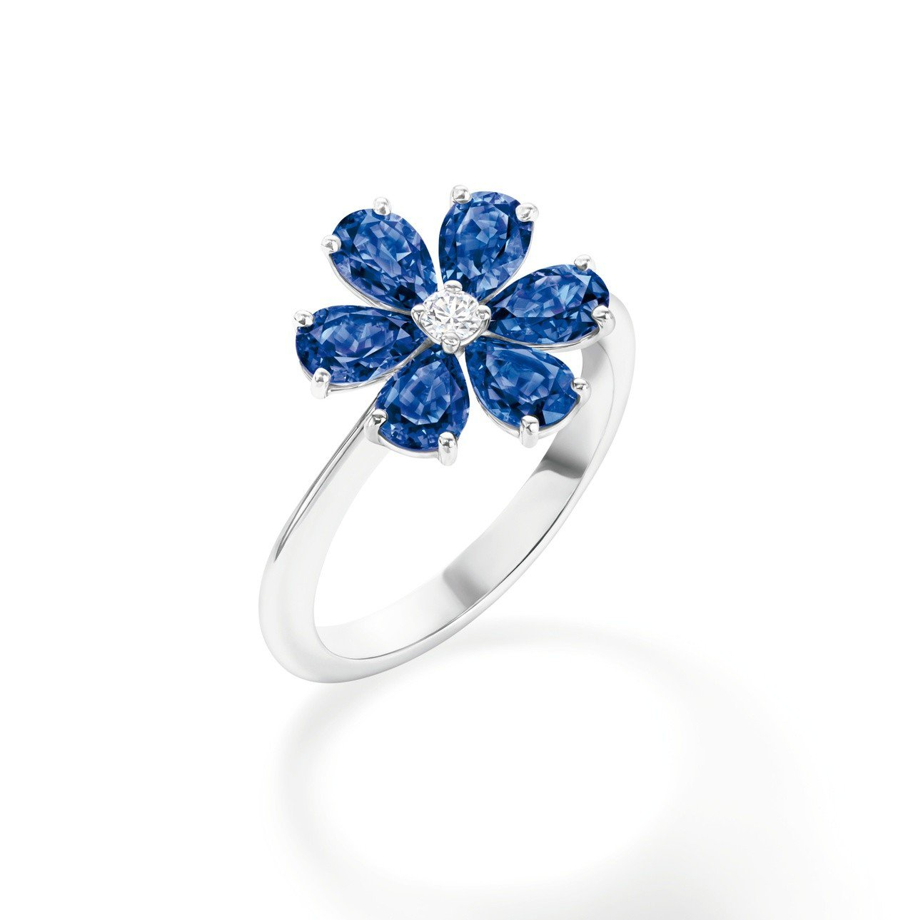 海瑞溫斯頓 勿忘我Forget-Me-Not藍寶石和鑽石戒指。圖/Harry W...