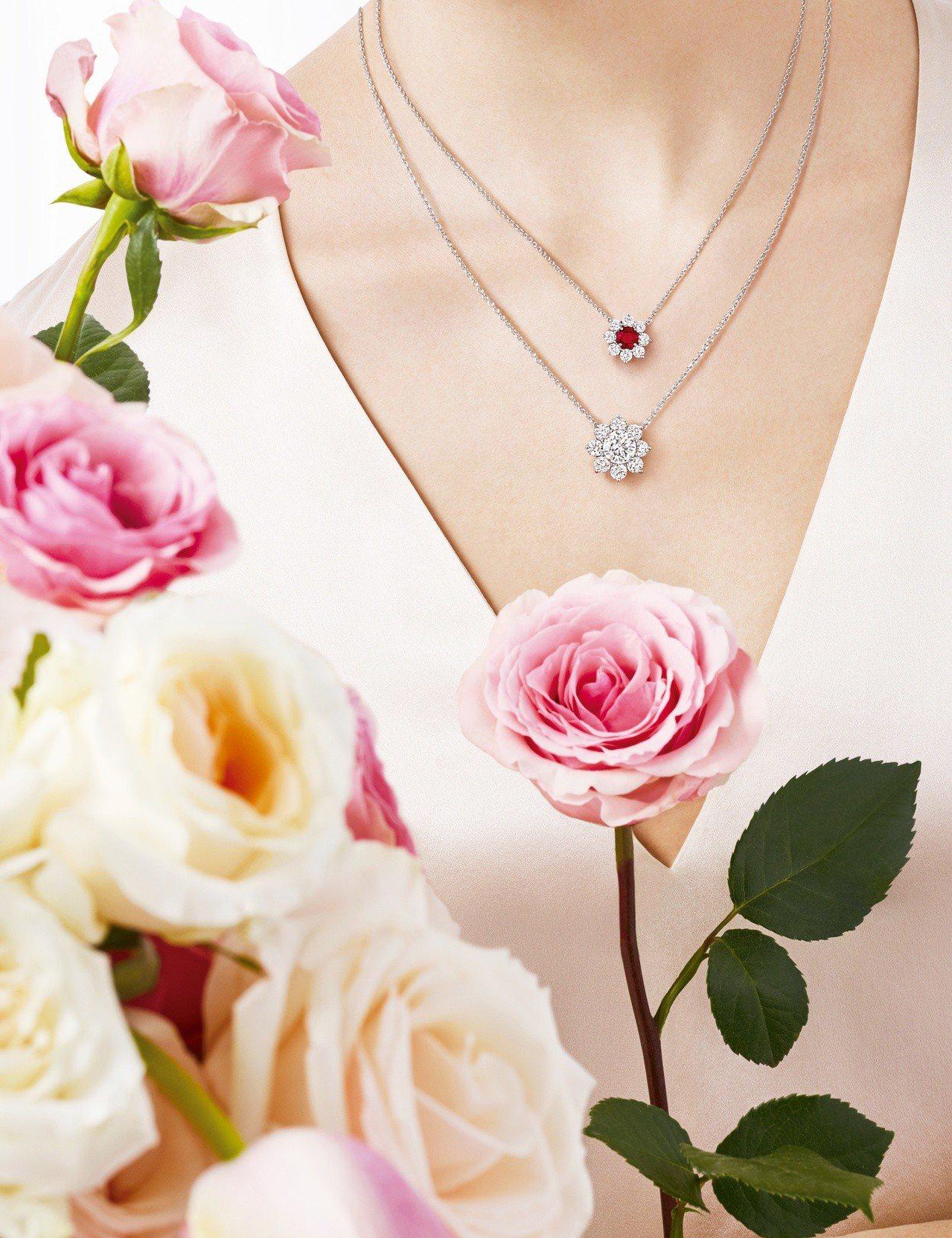 海瑞溫斯頓向陽花卉Sunflower珠寶系列,Petite紅寶石鑽石鍊墜及鑽石鍊...