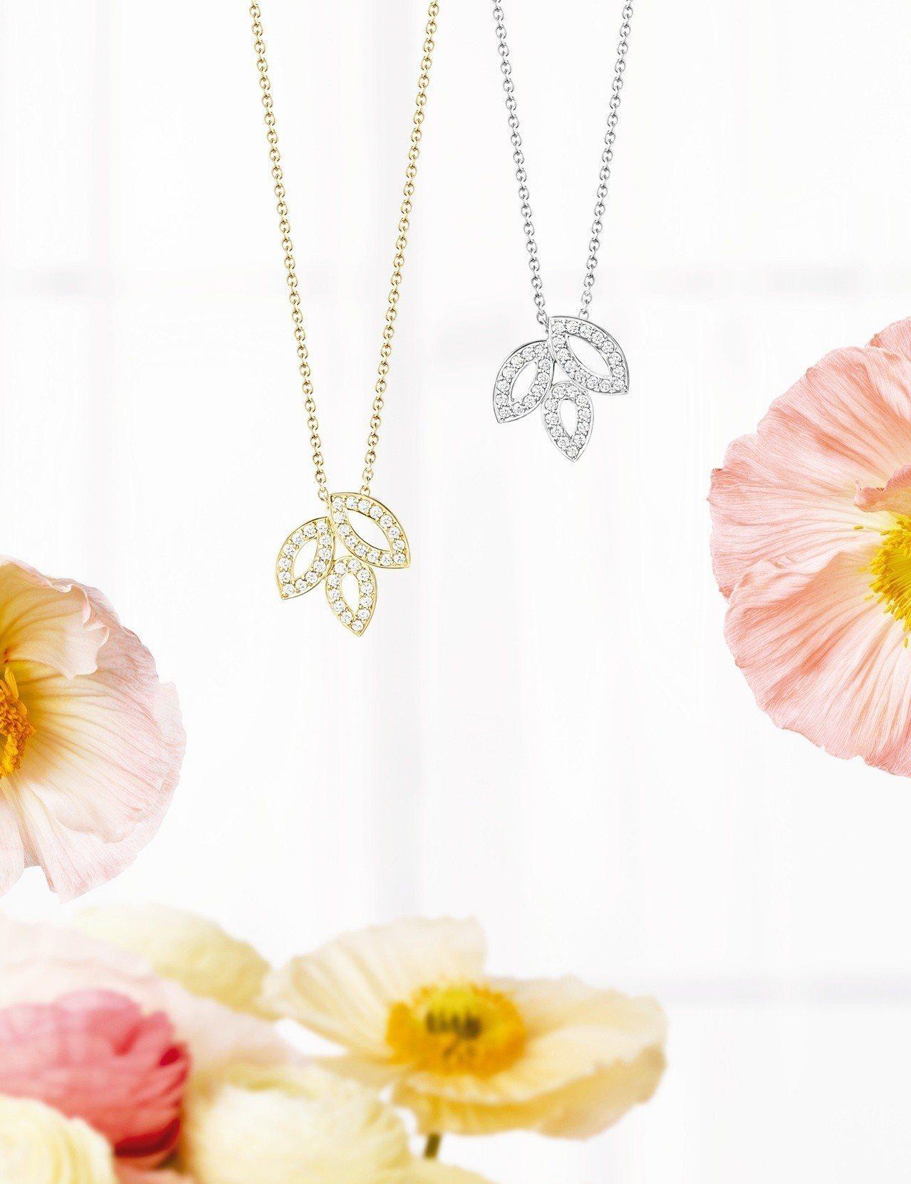 海瑞溫斯頓 Lily Cluster小型鑽石黃金鍊墜及小型鑽石鉑金鍊墜。圖/Ha...