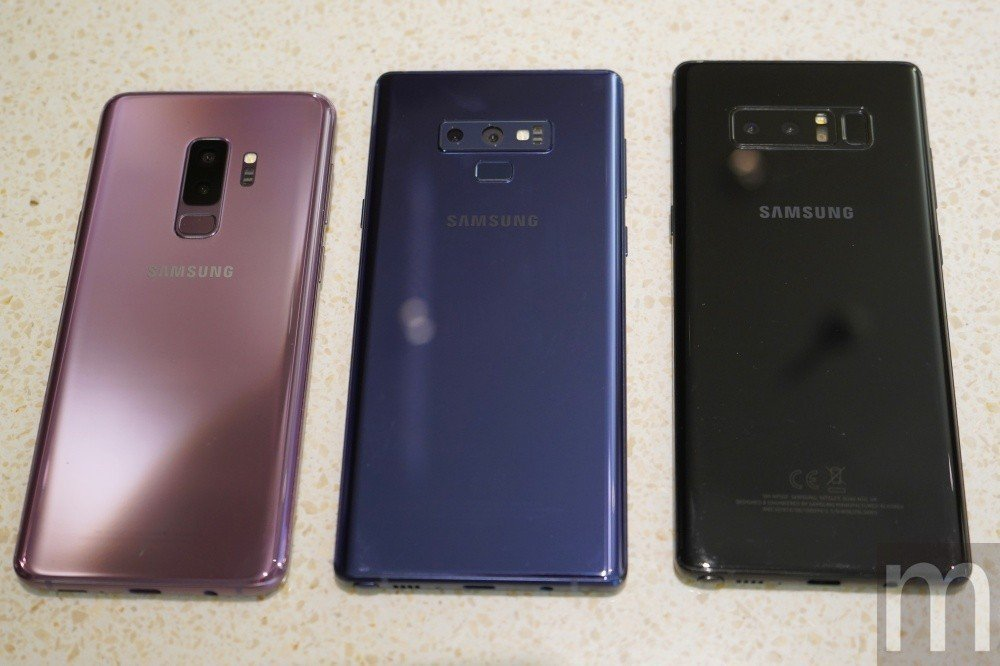 Galaxy S9+、Galay Note 9、Galaxy Note 8外觀比...