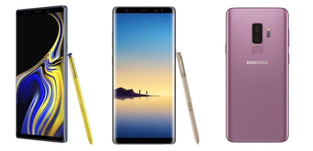 由左至右:Galaxy Note 9、Galaxy Note 8與Galaxy ...