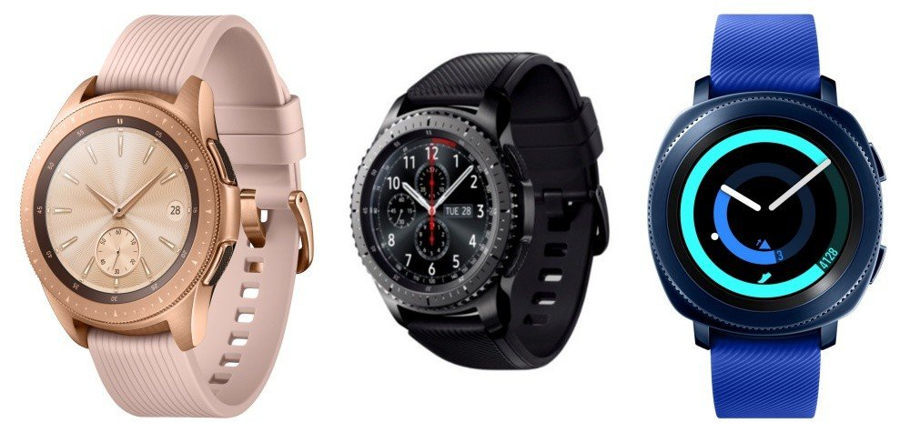 由左至右:Galaxy Watch、Gear S3、Gear Sport