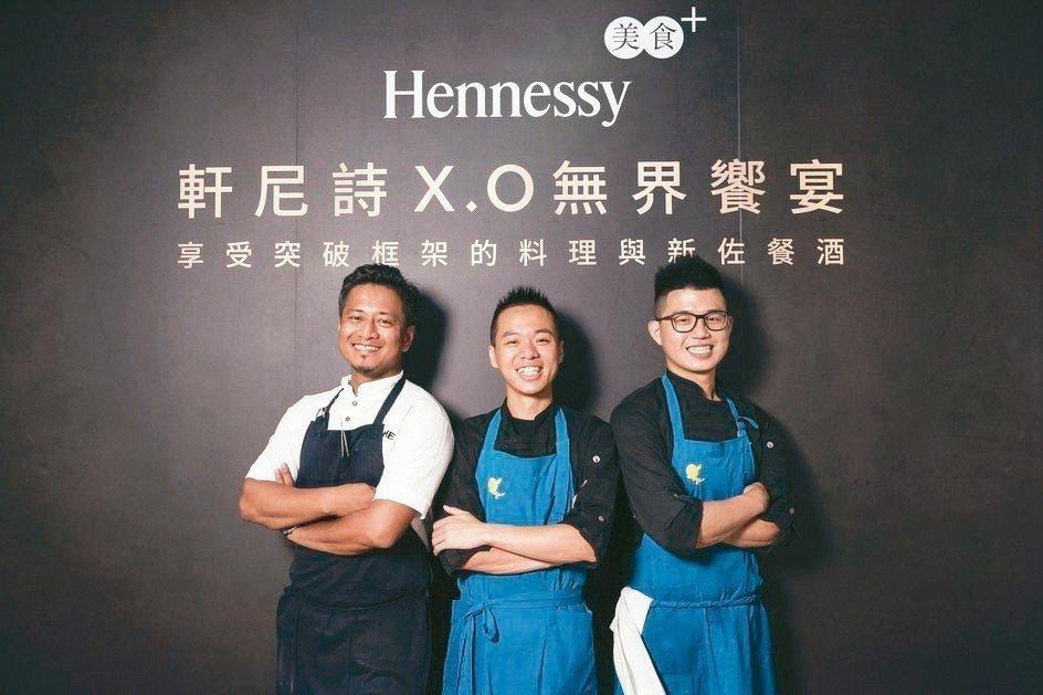 AKAME主廚彭天恩Alex(左起)與Hero Restaurant主廚蕭淳元、...