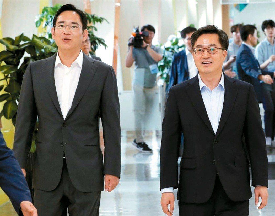 三星李在鎔(左)和南韓財長(右)。 (網路照片)
