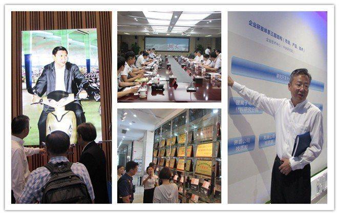 來自台灣的太陽能發電系統及電動車企業代表,走訪天能集團,除了參觀電池生產線,雙方...