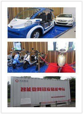 已有32年歷史的天能集團,生產的鉛酸及鋰電池在二輪及四輪電動車的應用(上及中圖)...