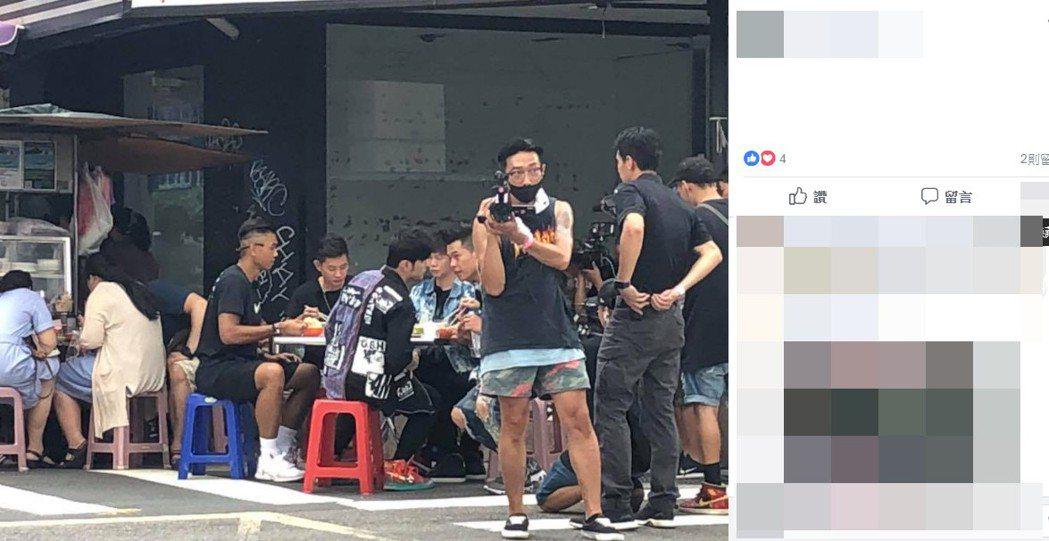 網友在台北東區直擊黑人與周董。圖/擷自臉書