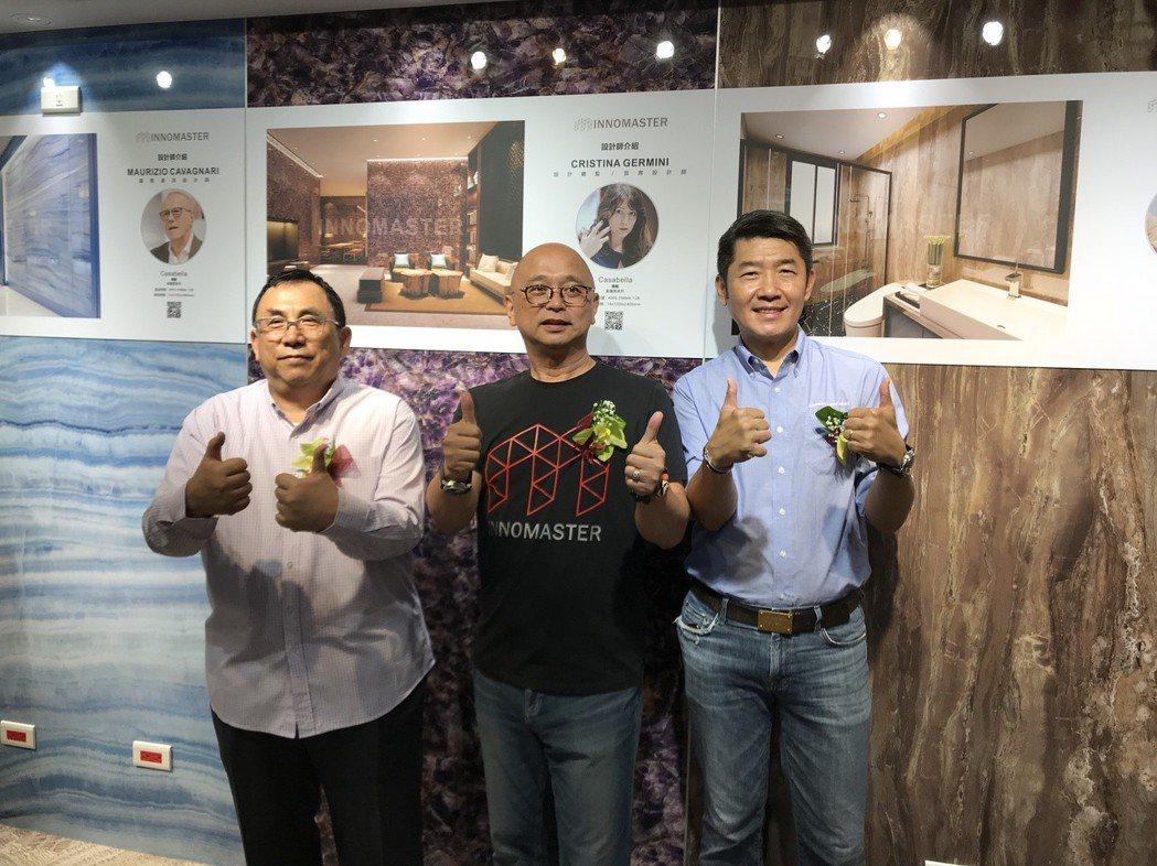 創意玩家台北公司開幕儀式由創意玩家董事長劉碩真(中)、五陽綠能董事(左)葉震琳及...