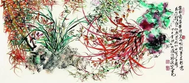 競相開放蘭花圖,展示蘭花姿態的同時,更展現詩書畫三者凝練的美感。