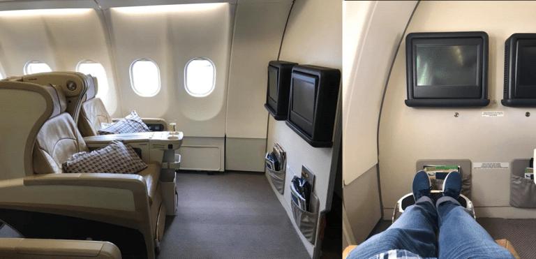 座位有60吋長,24.5吋寬,小弟被安排在11A座位 圖文來自於:TripPlu...