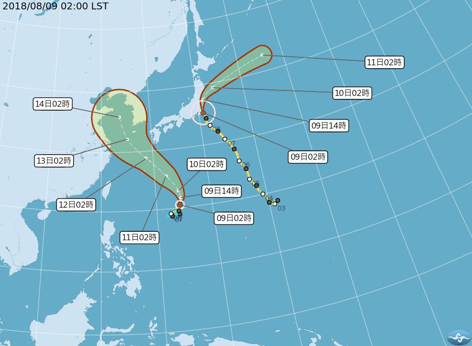 摩羯颱風(圖左)先向北北東進行,受到向西伸展的太平洋高壓推擠,逐漸脫離珊珊颱風的...