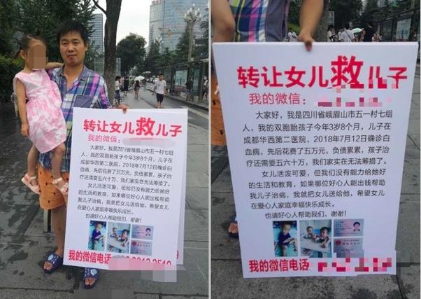 為了救患血癌的兒子,父親在路邊掛上「轉讓女兒救兒子」牌子,遭大陸網友質疑是公然販...