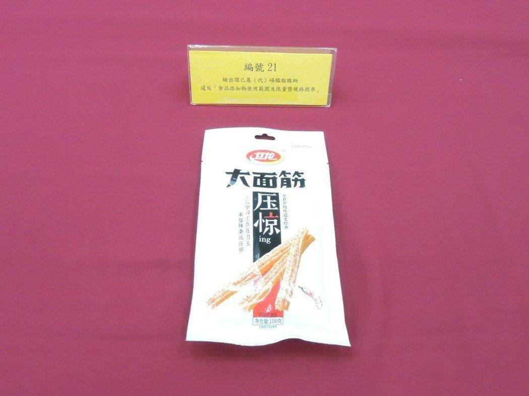 消基會今(9)日公布市售零食調查檢測報告,發現一款來自中國的「大面筋(香辣味调味...