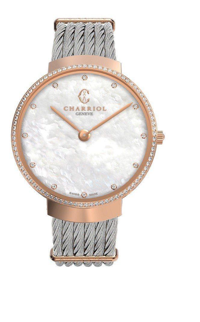 夏利豪Slim系列腕表白色珍珠貝母表面鍍玫瑰金款,99,300元。圖/夏利豪提供