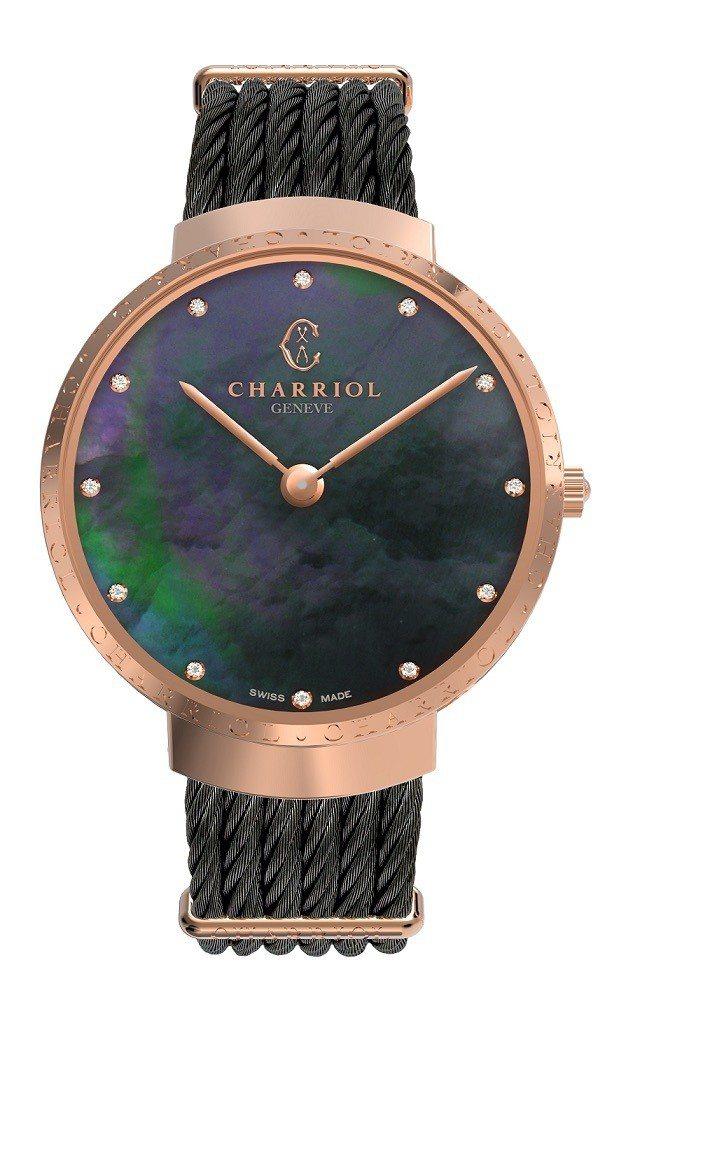 夏利豪Slim系列腕表黑色珍珠貝母表面鍍玫瑰金款,50,800元。圖/夏利豪提供