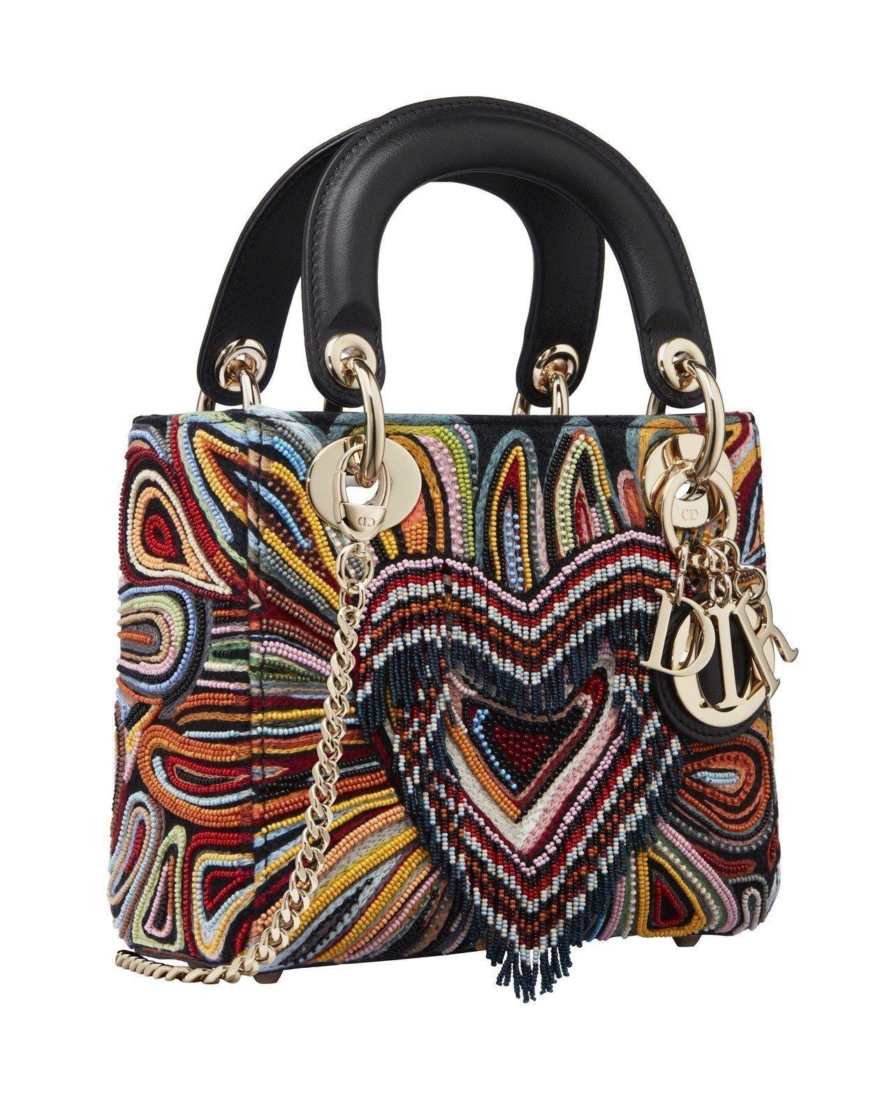Lady Dior彩色Dioramour串珠刺繡迷你鍊帶包,售價14萬元。圖/D...