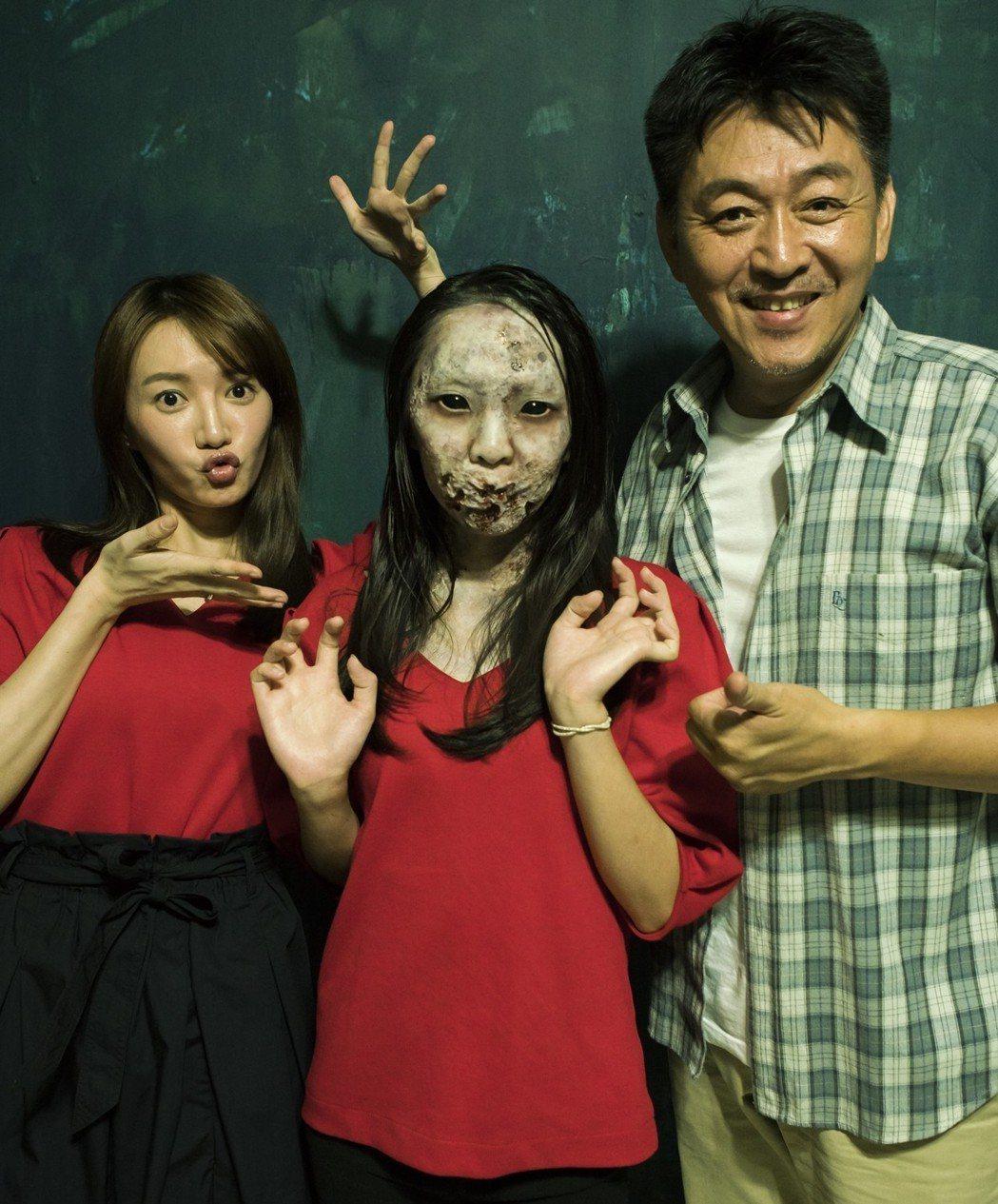 庹宗華(右起)、扮鬼演員、李杏演出「九月四日」。圖/緯來電影台提供