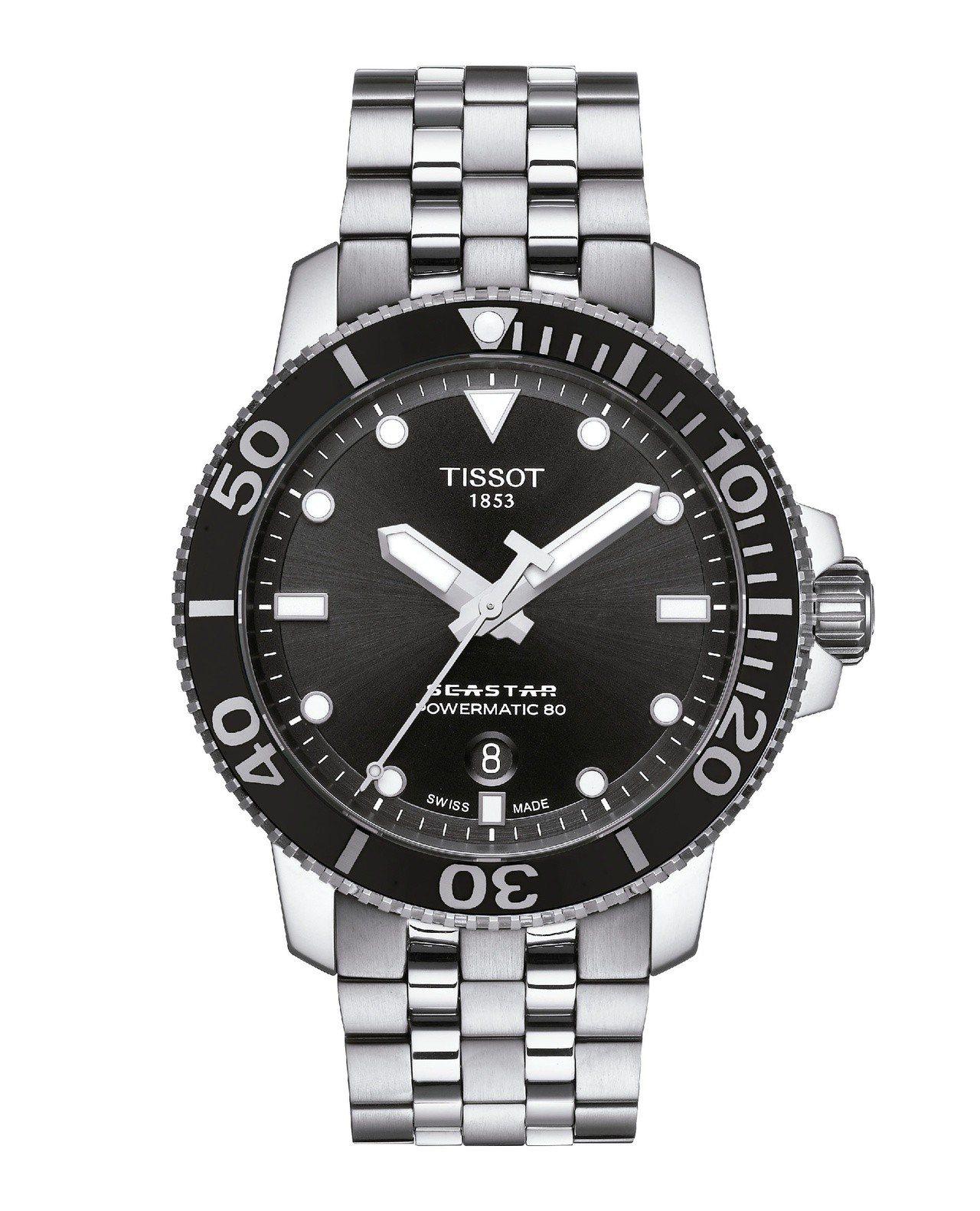 天梭Seastar 1000系列自動款潛水腕表,不鏽鋼表殼搭配陶瓷表圈、黑色表面...