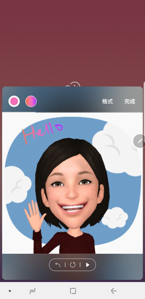 Samsung Galaxy Note 9的虛擬人偶可製作手寫動態貼圖。圖/手機...