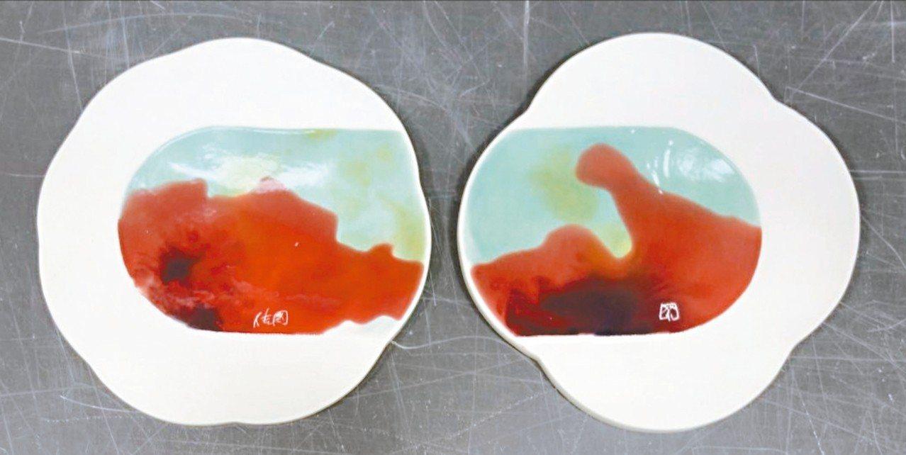 由景德鎮丁傳國老師調製釉料,再由英國設計師Rhiannon彩繪的花形盤組「花潮」...