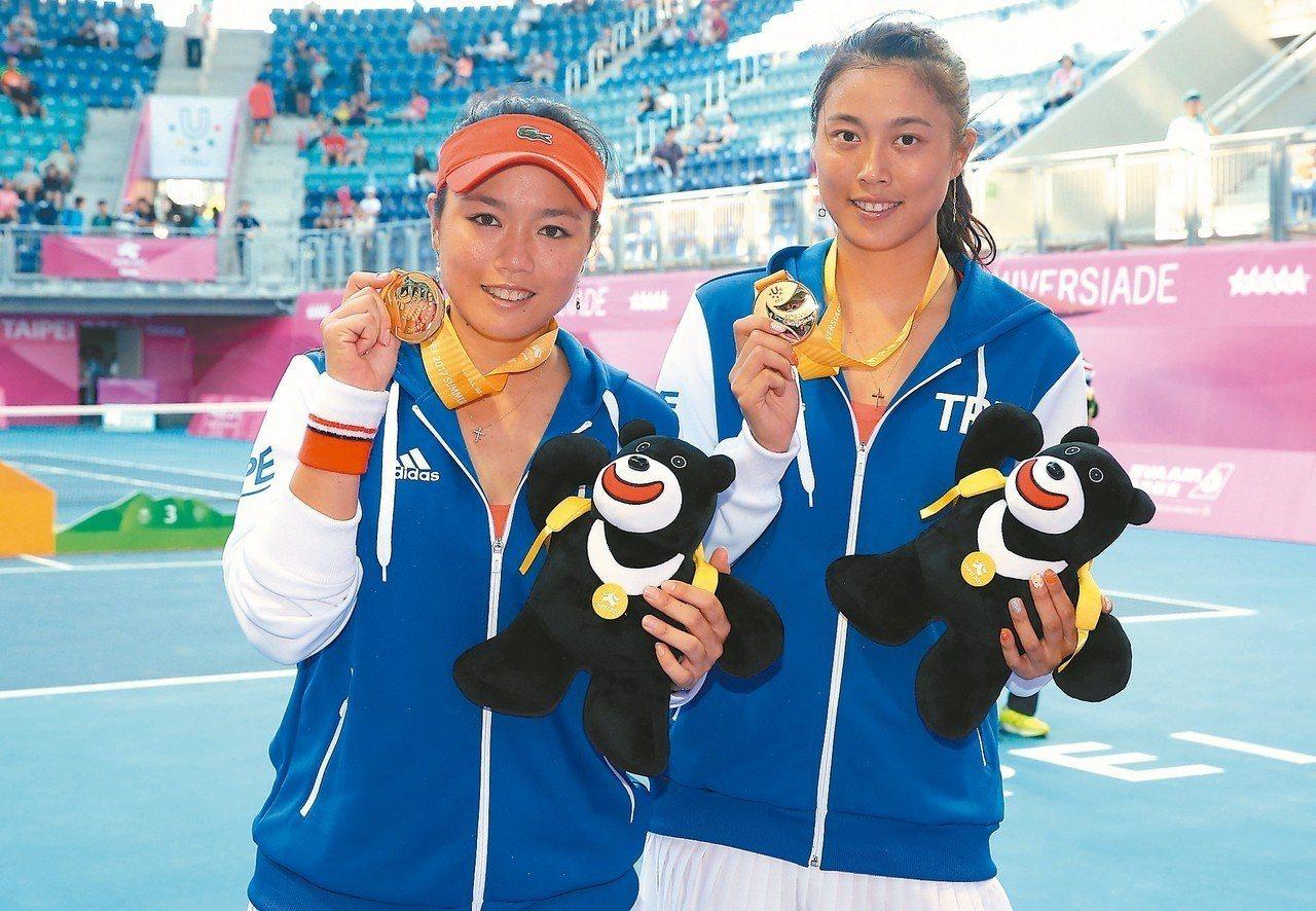 詹詠然(左)、詹皓晴姊妹是網球奪金希望。 圖/聯合報系資料照片