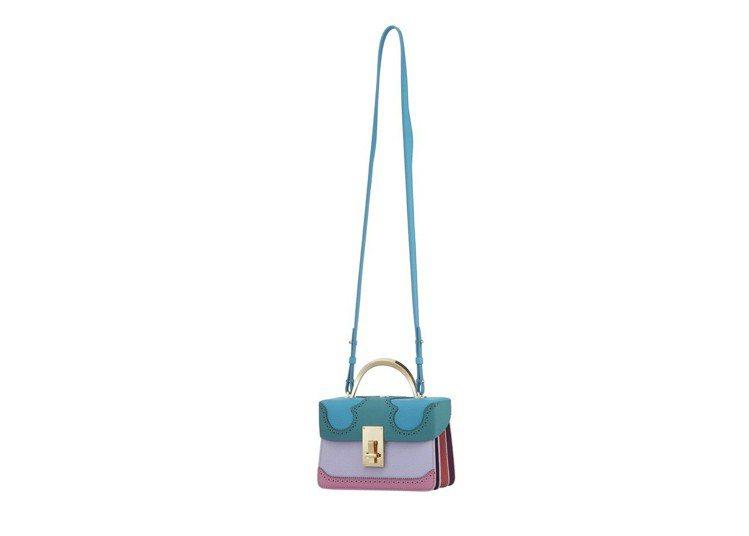The Volon藍綠紫粉拚色長方手提包,售價44,680元。圖/onefift...