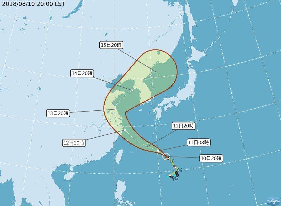 輕颱「摩羯」朝東海方向前進,直接影響台灣地區機率較低。 圖/中央氣象局