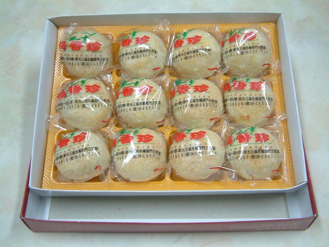 梅香珍的綠豆椪,皮薄香酥、內餡棉密香濃、人口即化、甜度適中、口感滑順不乾澀。莊智...