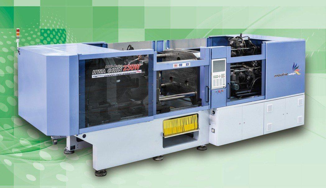射出成型機大廠樺欽機械,在2018年TAIPAI PLAS展出全新研發的三色電動...