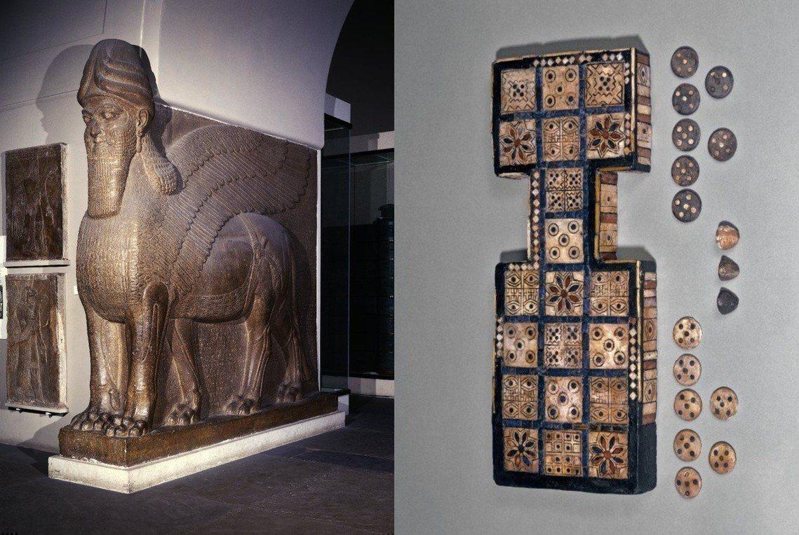 圖左為巨翼「捨杜」石雕,圖右為烏爾王陵的烏爾王棋,今皆收藏在大英博物館內。 圖/...