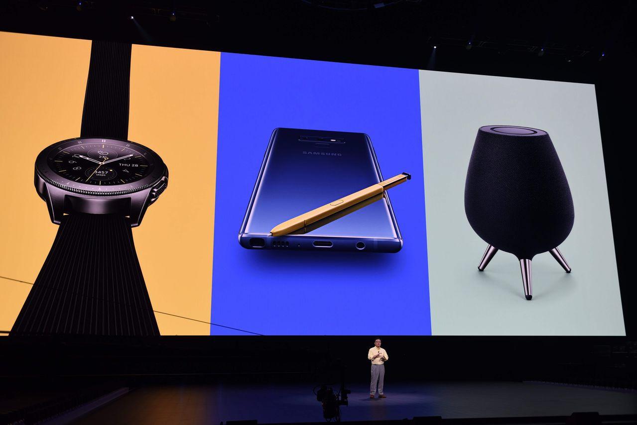 三星電子也發表新款智慧手表和智慧音箱。法新社