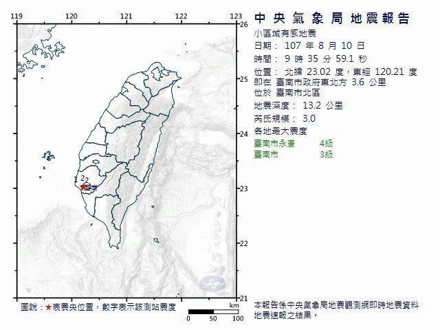 台南市芮氏規模3.0地震。圖/中央氣象局提供